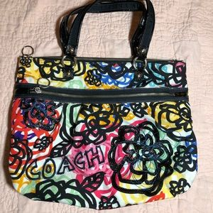 Coach Poppy Graffiti Floral Tote Purse